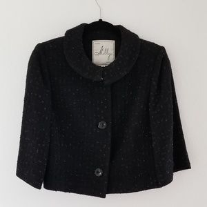Milly wool black formal crop coat jacket size 8
